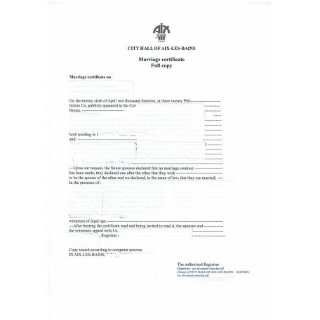 Traduction d'acte de mariage France