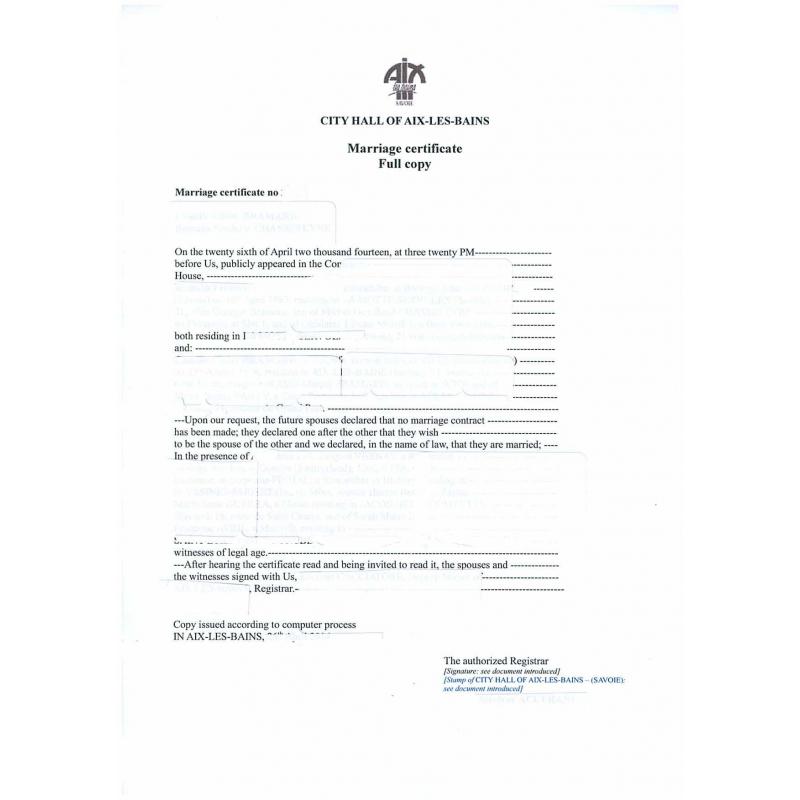 traduction asserment u00e9e d u0026 39  acte de mariage fran u00e7ais en anglais