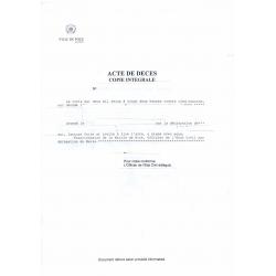 Traduction d'acte de décès France
